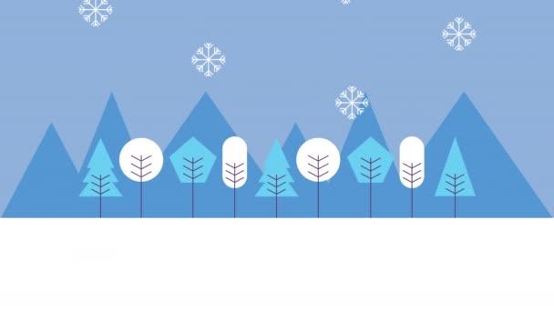 zimní sněhová scéna se ženami a lesem