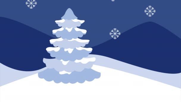 zimní sněhová scéna s lidmi a borovice