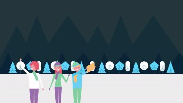 zimní sněhová scéna s lidmi a lesy