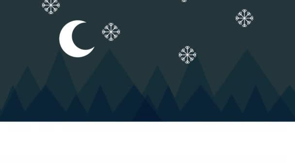 zimní sněhová scéna s domy a borovice