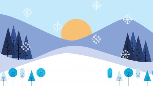 zimní sněhová scéna se ženou skákání