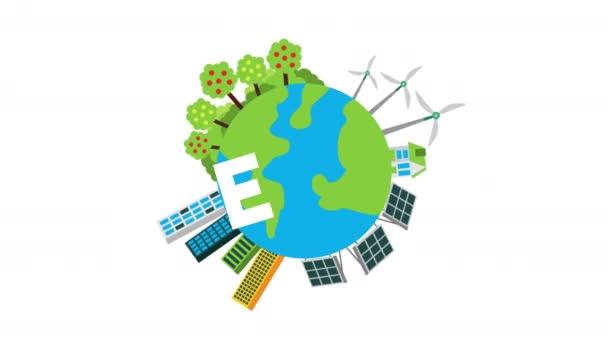 környezetbarát betűk a világ bolygó videó animáció