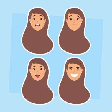 group of women heads and expressions