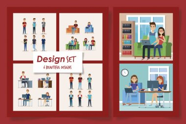 six designs of young people students scenes