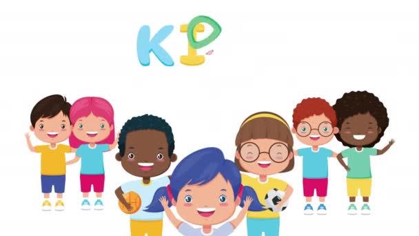 různé malé děti přátelé s dětmi zóna písmena