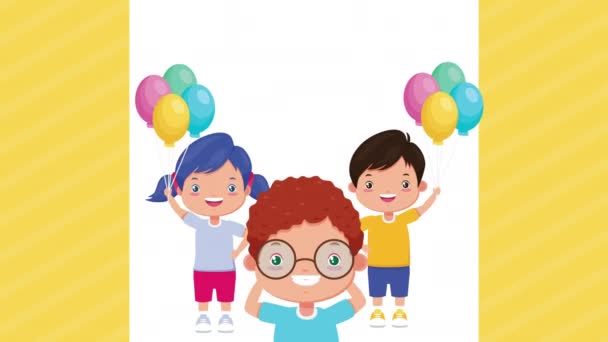 cute little kids with balloons helium characters