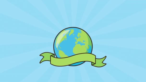 eco friendly environmental animation with earth and trees