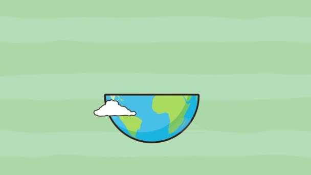 eco friendly environmental animation with half earth planet and plant