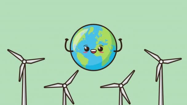 eco friendly environmental animation with earth character and energy production