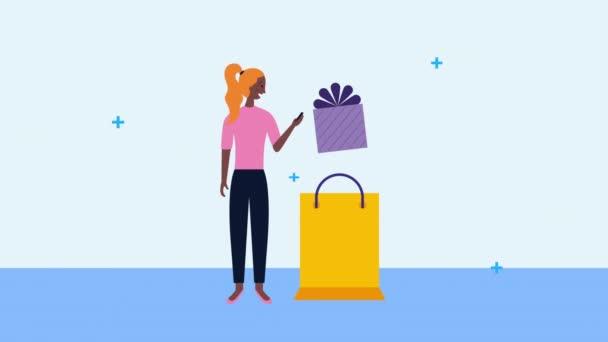mladá podnikatelka pomocí smartphone s nákupní taškou