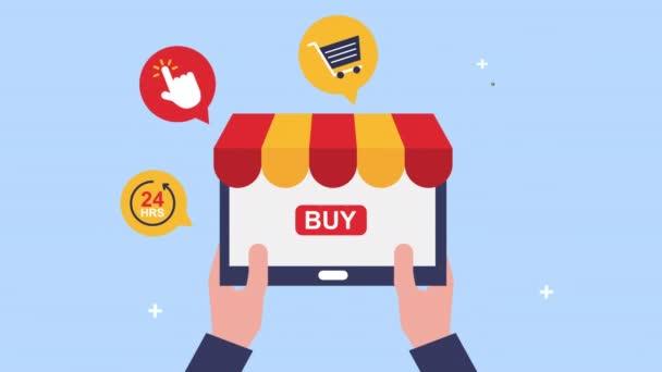 ruce pomocí tabletu s ikonami elektronického obchodu