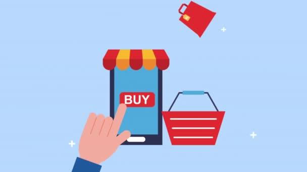 kéz segítségével okostelefon bevásárlókosár e-kereskedelem