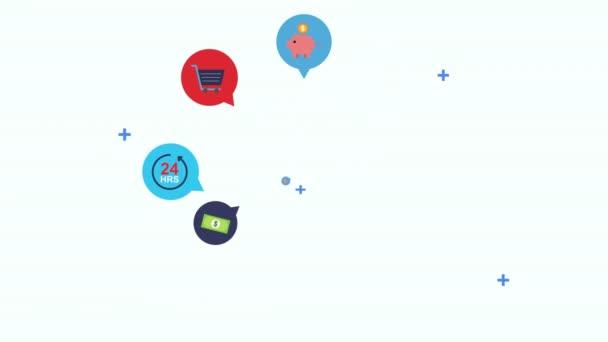 hlasové bubliny s ikonami sady elektronického obchodování