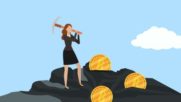 young businesswoman with pick minning bitcoin