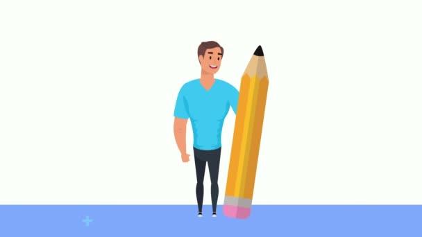 Jungunternehmer mit Bleistiftvorrat