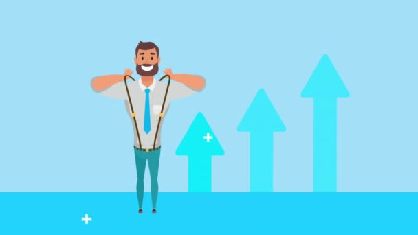 young businessman with statistics arrows