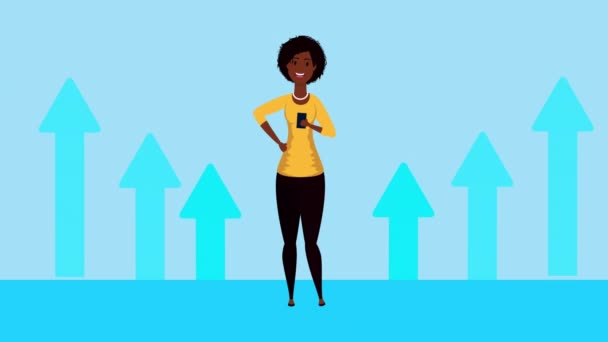 afro businesswoman with arrows statistics