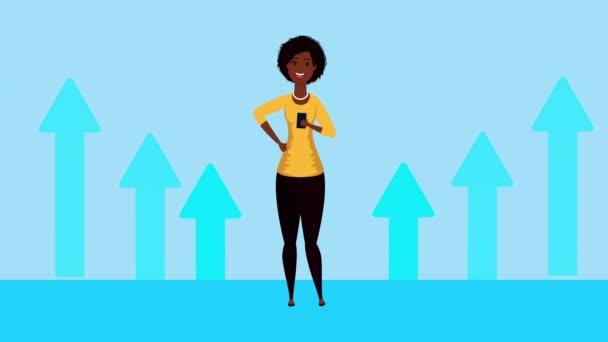 afro unternehmerin mit pfeilen statistik