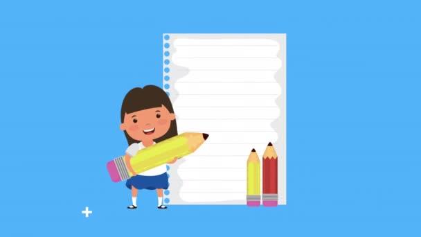 vissza az iskolai szezonban a papír lap és a lány