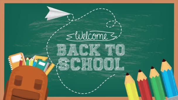 back to school season with chalkboard and supplies