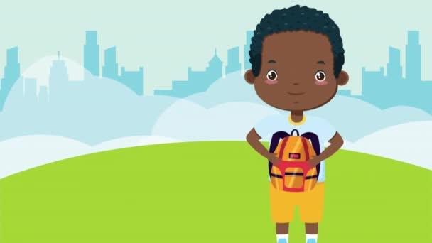 afro kisfiú iskolabusz karakter
