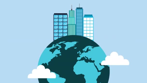 world planet earth and buildings
