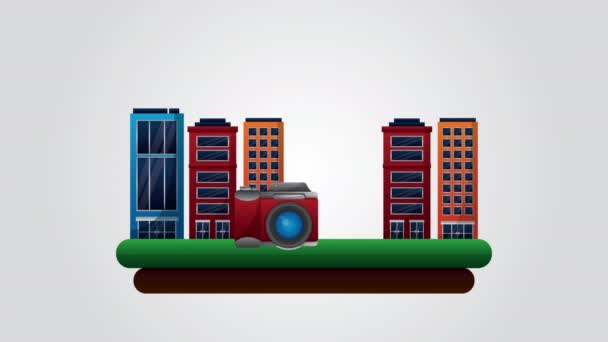 travel around the world animation with camera and suitcase on the city