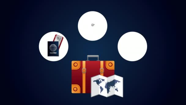 travel around the world animation with suitcase and items