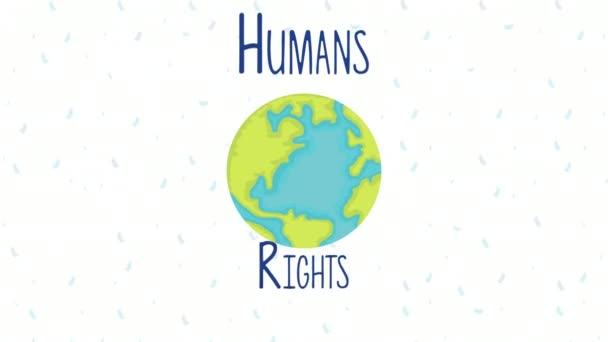 human rights animation with world planet