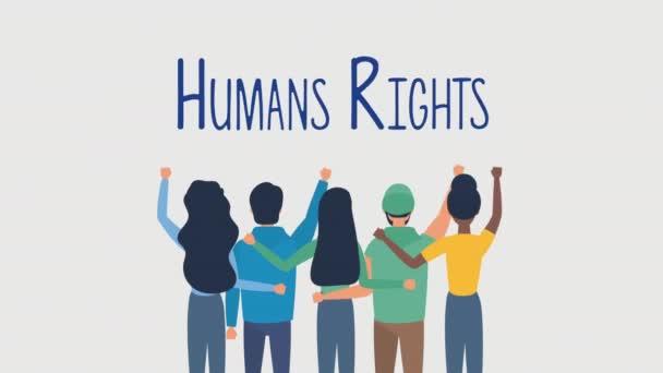 Çeşitlilik gösteren insanlarla insan hakları animasyonu