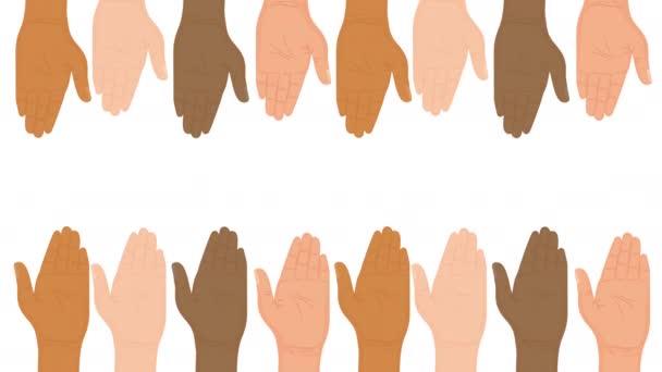 animace lidských práv s různorodýma rukama