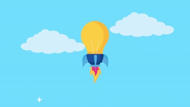 Animation zum Start einer Glühbirne Raketenwerfer