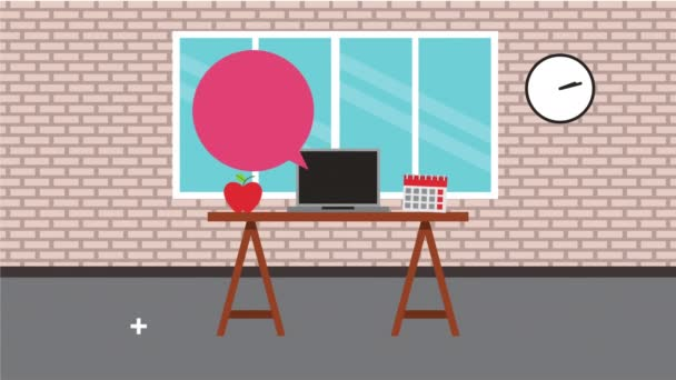 kancelářské pracoviště s animací hlasové bubliny