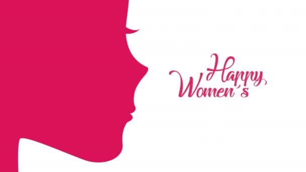 happy womens day lettering with girl profile