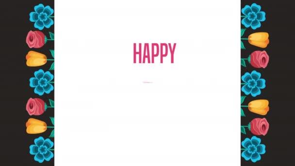 šťastný ženy den nápis se zahradní květiny