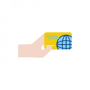 hand with credit card money flat style icon