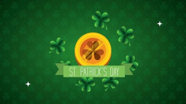 st patricks day animated card with coin and clovers