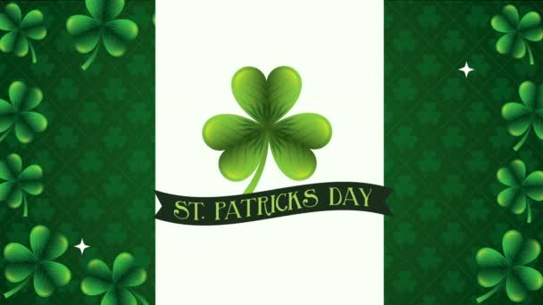 st patricks day animated card with lettering and clovers