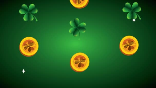st patricks day animated card with coins and clovers
