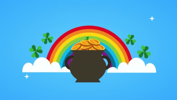 st patricks day animated card with rainbow and cauldron
