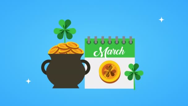 st patricks day animated card with calendar and coins