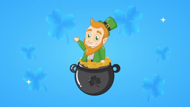 st patricks day animated card with elf in cauldron