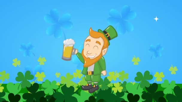st patricks day animated card with elf drinking beer
