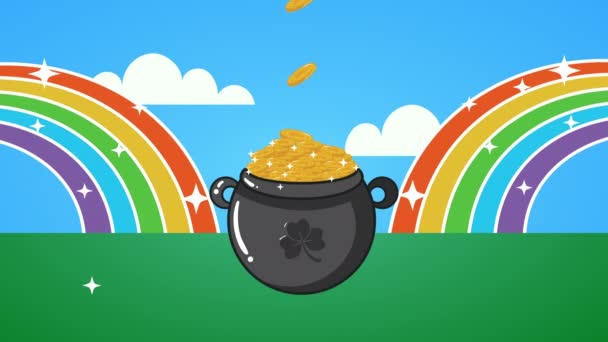 st patricks day animated card with treasure cauldron in rainbow