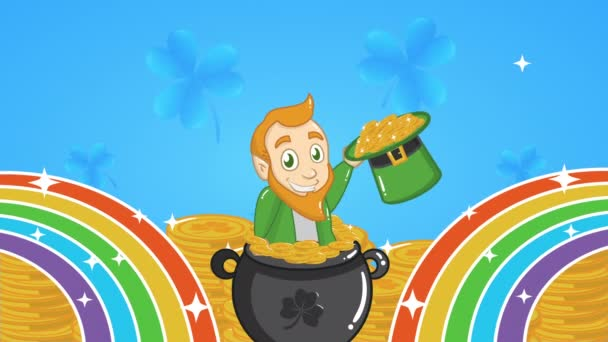 st patricks day animated card with elf and coins in rainbow
