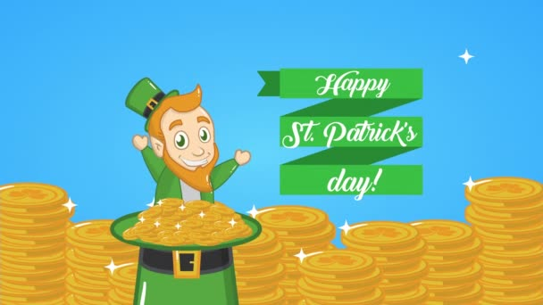 st patricks day animated card with elf and coins hat