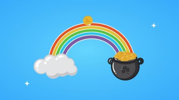 st patricks day animated card with rainbow and treasure cauldron