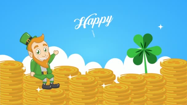 st patricks day animated card with elf ad treasure coins
