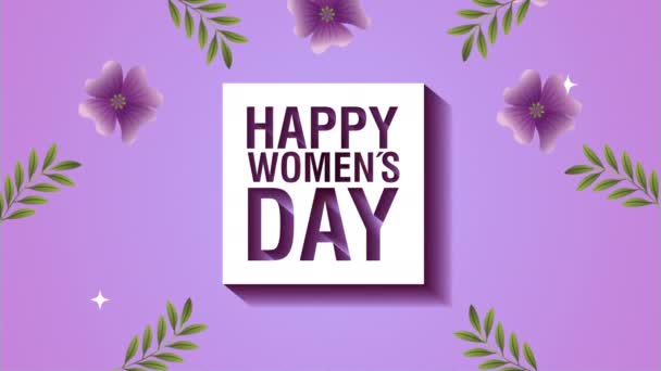 happy womens day card with purple flowers