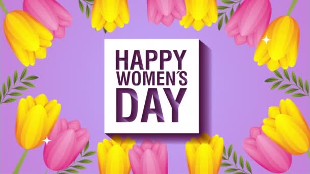 happy womens day card with colors roses flowers